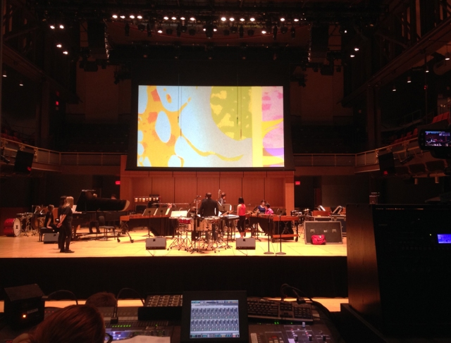 Loop 2.4.3, with the Temple University Percussion Ensemble, November 3, 2015. Photo by Tom Burnett.