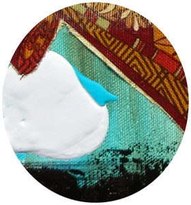 """Textile and painted cloud, in """"Compass,"""" 2016"""