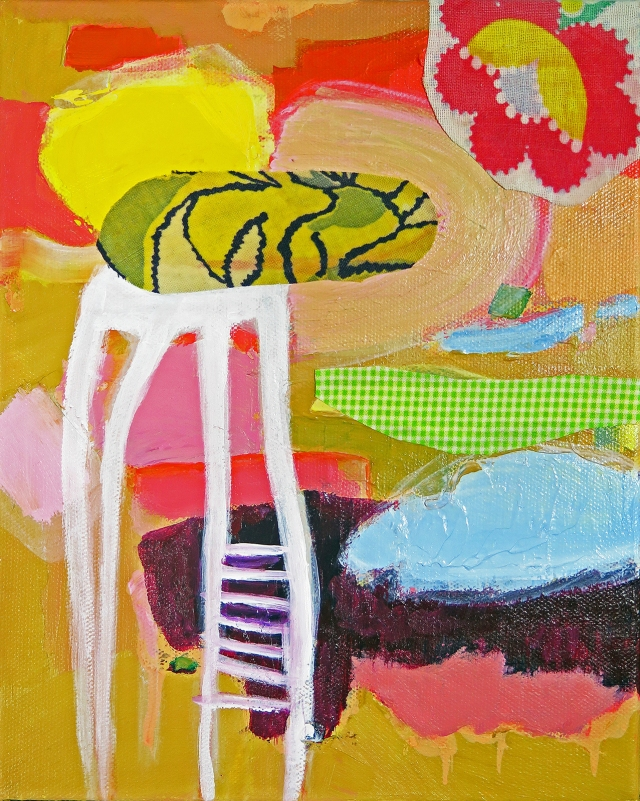 """""""Wanderlust,"""" JoAnne Lobotsky, 2015 (fabric and acrylic on canvas, 10 x 8 inches)"""