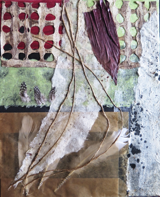 """Before They Knew,"" JoAnne Lobotsky, 2015 (acrylic, ink, burlap and other threads, wax paper bag, feathers, corn husk and handmade paper on canvas, 14 x 11 inches)"
