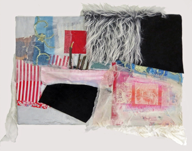 """Detour,"" JoAnne Lobotsky, 2015 (fabric, faux fur, felt, silk, paper, sticks and cheesecloth on canvas, 16 x 24 inches, including support)"